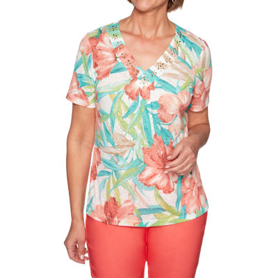 Alfred Dunner Coastal Drive-Womens V Neck Short Sleeve T-Shirt