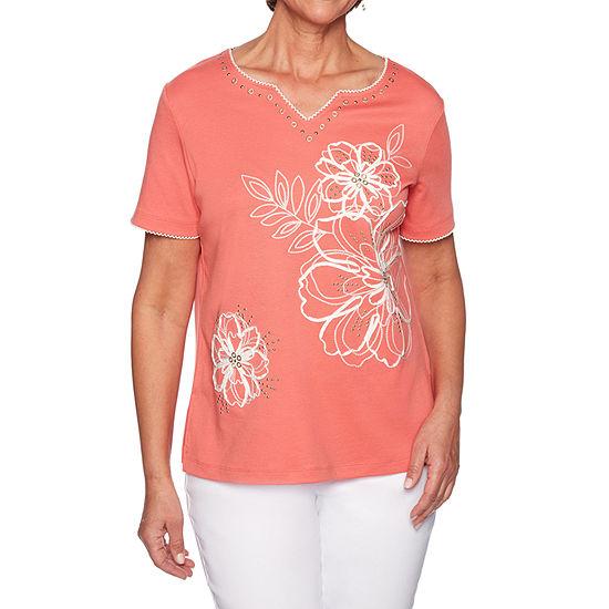 Alfred Dunner Coastal Drive-Womens Split Crew Neck Short Sleeve T-Shirt
