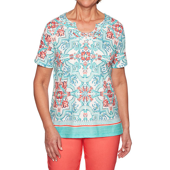 Alfred Dunner Coastal Drive Womens Scallop Neck Short Sleeve T Shirt