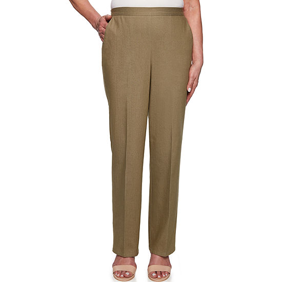 Alfred Dunner Lake Tahoe Womens High Waisted Straight Pull-On Pants