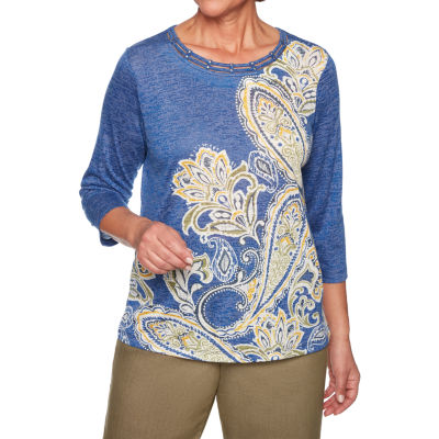 Alfred Dunner Lake Tahoe-Womens Round Neck 3/4 Sleeve T-Shirt