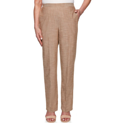 Alfred Dunner Santa Fe Womens High Waisted Straight Pull-On Pants