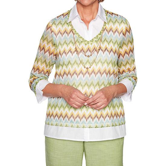 Alfred Dunner Santa Fe Womens 3/4 Sleeve Layered Top