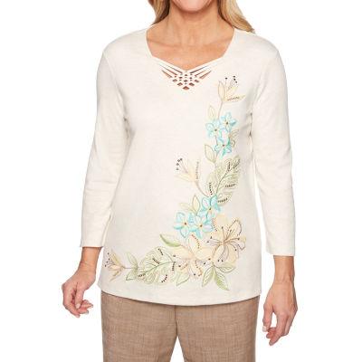 Alfred Dunner Santa Fe-Womens V Neck 3/4 Sleeve T-Shirt