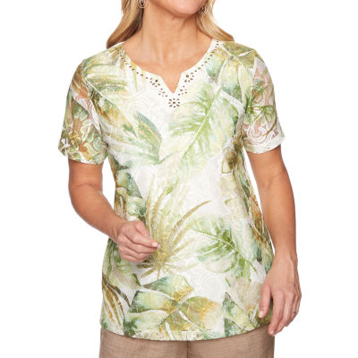 Alfred Dunner Santa Fe-Womens Crew Neck Short Sleeve T-Shirt