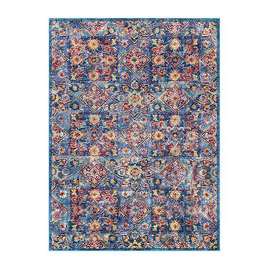 nuLoom Vintage Floral Tiles Busby Rectangular Rug