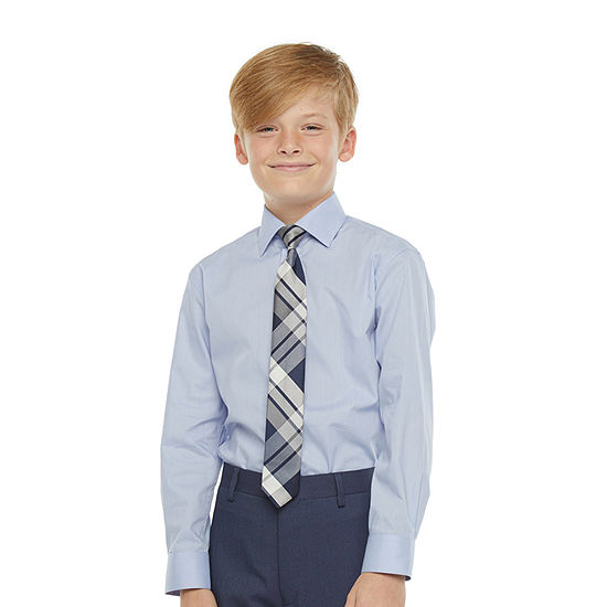 Collection By Michael Strahan Big Boys Spread Collar Long Sleeve Shirt + Tie Set