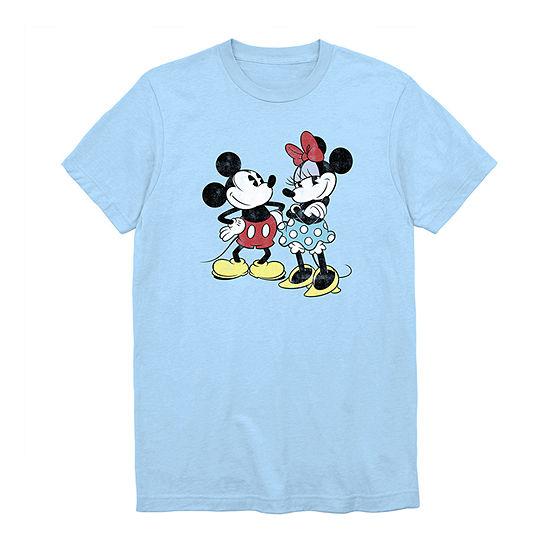Mickey Minnie Retro Mens Crew Neck Short Sleeve Mickey Mouse Graphic T-Shirt