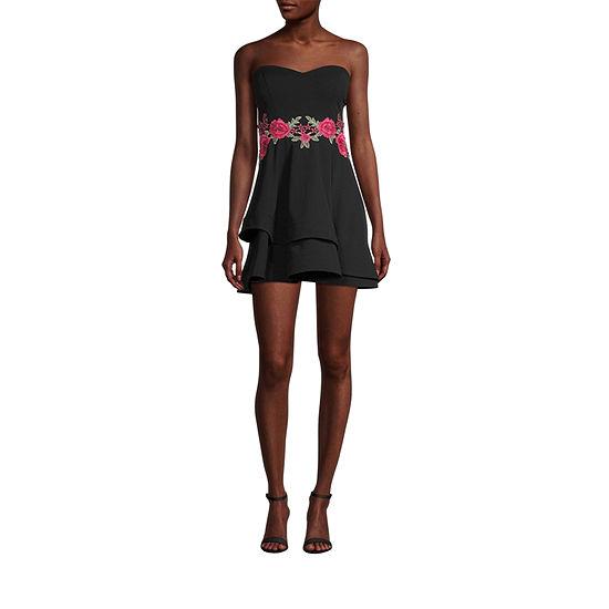 B. Smart-Juniors Strapless Floral Applique Fit & Flare Dress