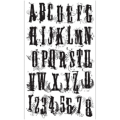 Tim Holtz® Cling Rubber Stamp Set, Grudge Alphabet