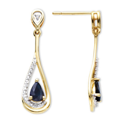Blue Sapphire & Diamond-Accent 10K Gold Earrings