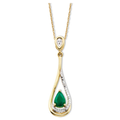 Emerald & Diamond-Accent 10K Gold Pendant Necklace