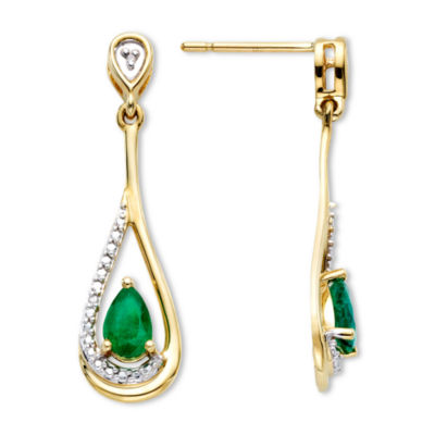Emerald & Diamond-Accent 10K Gold Earrings
