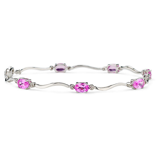 Lab-Created Pink Sapphire & Diamond-Accent Sterling Silver Bracelet