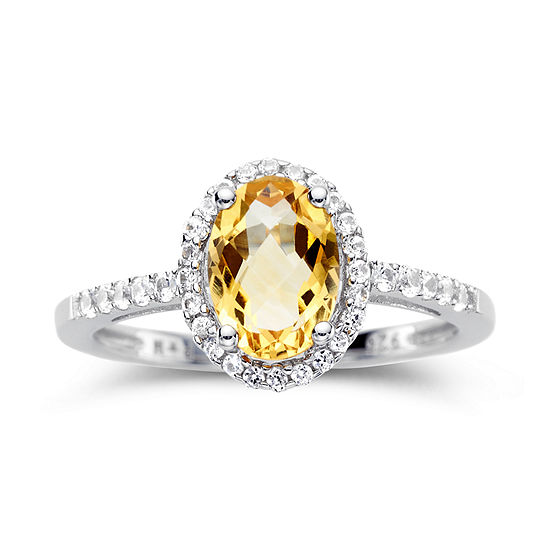 Citrine Lab Created White Sapphire Sterling Silver Ring