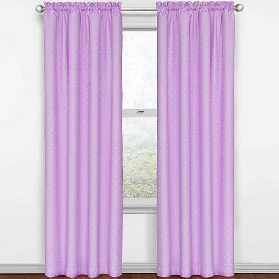 Eclipse Kids Polka Dots Energy Saving Blackout Rod-Pocket Single Curtain Panel