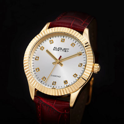 August Steiner Womens Red Strap Watch-As-8277rd