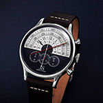 Joshua & Sons Mens Chronograph Black Leather Strap Watch-J-152bu
