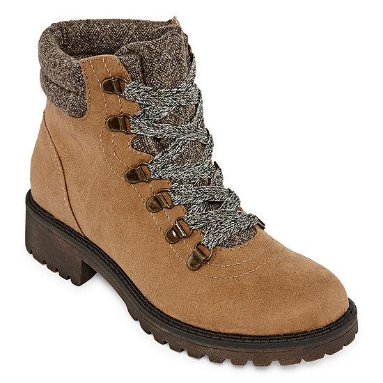 Pop Womens Malana Lace Up Boots Block Heel