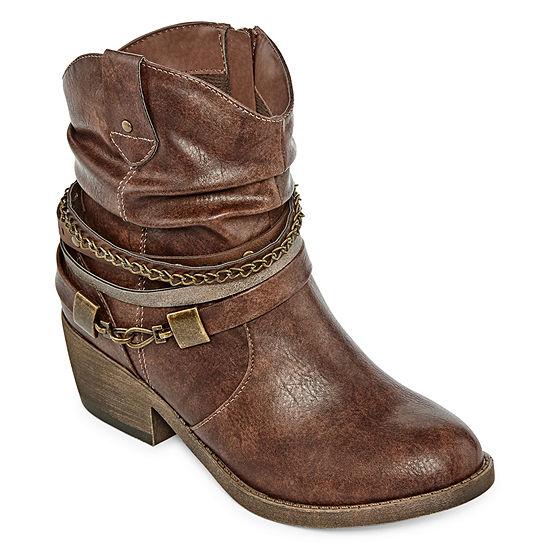 Pop Womens Odile Booties Block Heel Zip