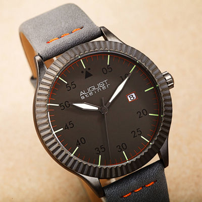 August Steiner Mens Gray Strap Watch-As-8272gy