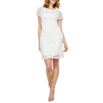 Robbie Bee Short Sleeve Lace Sheath Dress by Robbie Bee