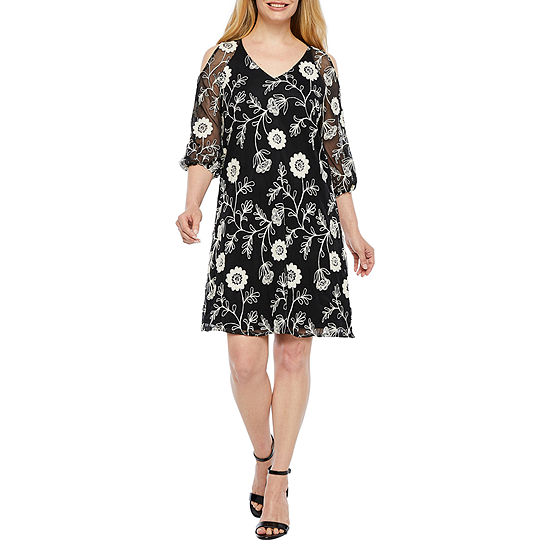Danny & Nicole 3/4 Sleeve Embroidered Floral A-Line Dress-Petite