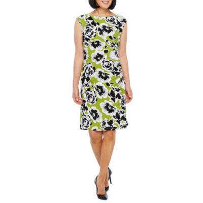 Black Label by Evan-Picone Sleeveless Floral Sheath Dress