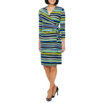 Black Label by Evan-Picone 3/4 Sleeve Striped Wrap Dress