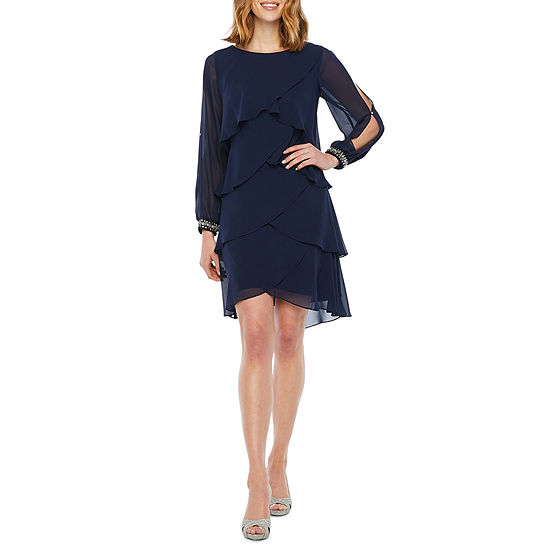 S. L. Fashions Long Sleeve Tiered Embellished Shift Dress