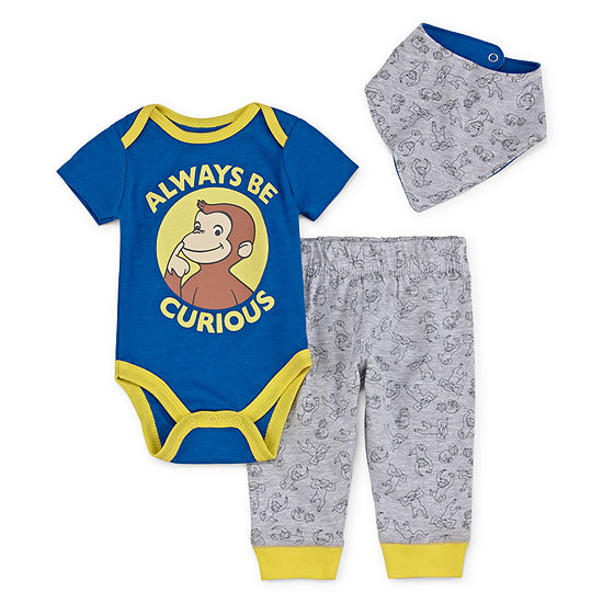 Curious George 3-pc. Curious George Bodysuit Set-Baby Boys