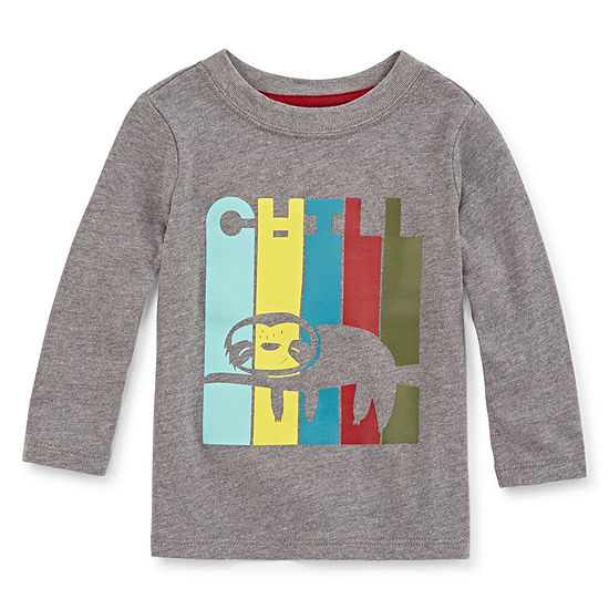 Okie Dokie Boys Crew Neck Long Sleeve Graphic T-Shirt - Baby