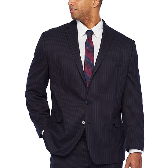 Shaquille O'Neal XLG-Big and Tall Striped Classic Fit Stretch Suit Jacket