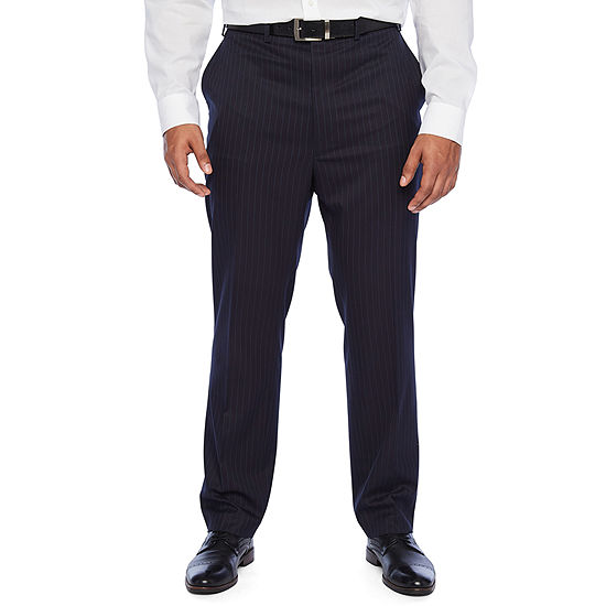 Shaquille O'Neal XLG - Big and Tall Striped Classic Fit Stretch Suit Pants