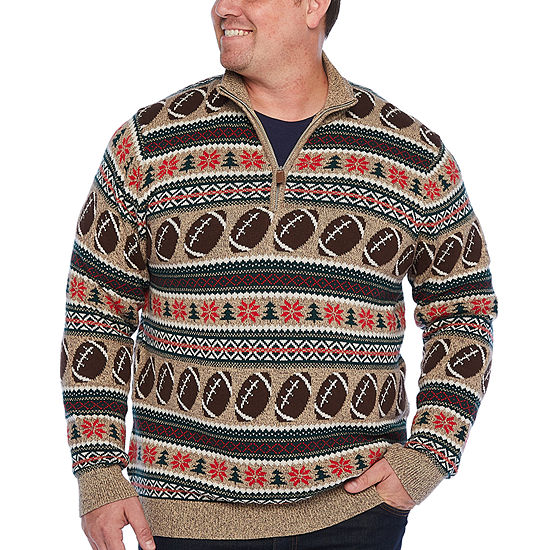 The Foundry Big & Tall Supply Co. - Big and Tall Mock Neck Long Sleeve Pullover Sweater