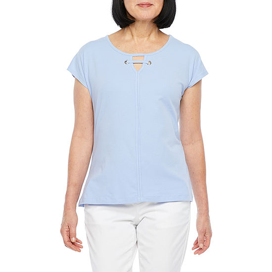 Hearts Of Palm Natural Wonders-Womens Keyhole Neck Short Sleeve T-Shirt