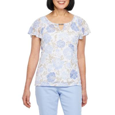 Hearts Of Palm Natural Wonders-Womens Keyhole Neck Short Sleeve T-Shirt