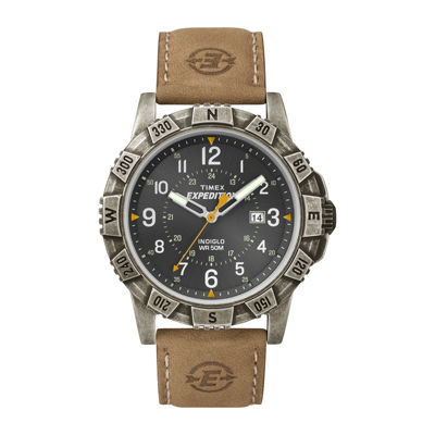 Timex® Rugged Mens Leather Strap Field Watch T499917R
