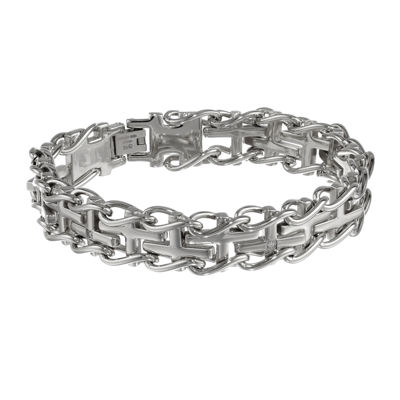 Mens Stainless Steel Railroad Cross Bracelet