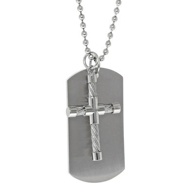 Mens Stainless Steel Cable Cross & Dog Tag Pendant Necklace