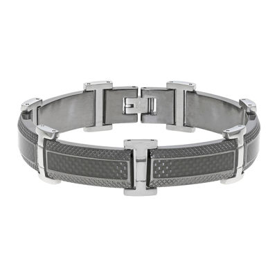 Mens Stainless Steel & Black IP Bracelet