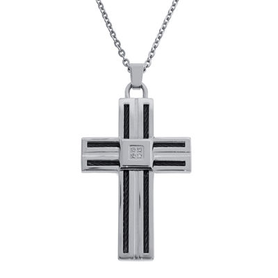 Mens Diamond-Accent Stainless Steel & Black IP Cable Cross Pendant Necklace