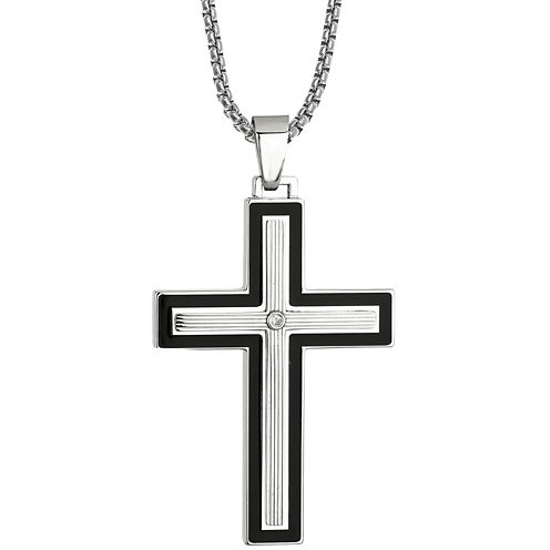 Mens Cubic Zirconia Stainless Steel & Resin Cross Pendant Necklace