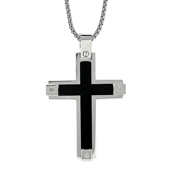 Mens Stainless Steel & Resin Cross Pendant Necklace