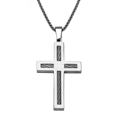 Mens Stainless Steel Cable Cross Pendant Necklace