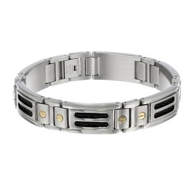 Mens 10K Gold, Stainless Steel & Black IP Cable Link Bracelet