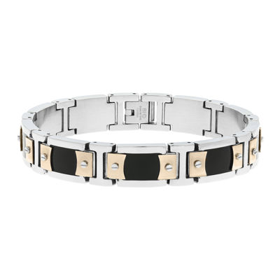 Mens Stainless Steel & Rose-Tone IP Link Bracelet