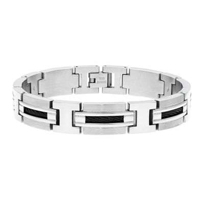 Mens Stainless Steel Railroad Link Bracelet