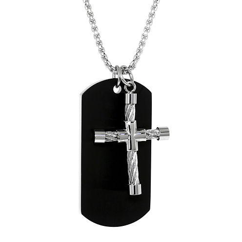 Mens Stainless Steel Cable Cross & Black IP Dog Tag Pendant Necklace