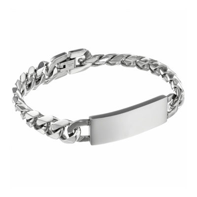 Mens 12mm Stainless Steel Curb ID Bracelet